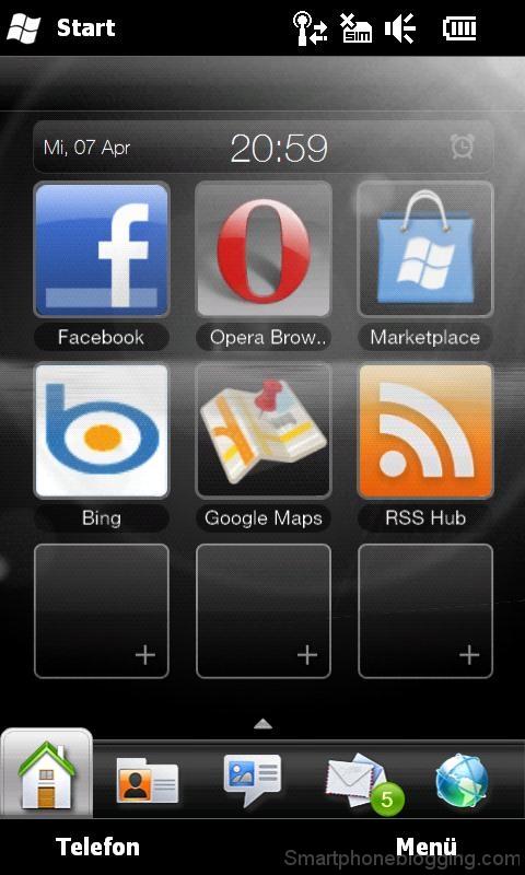 hd2 htc sense home tab apps