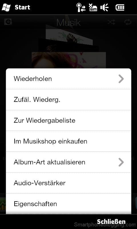 hd2 htc sense music tab menu