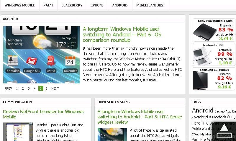 hd2 htc sense opera browser landscape