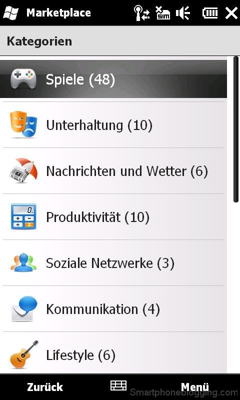 htc hd2 windowsmobile marketplace apps categories