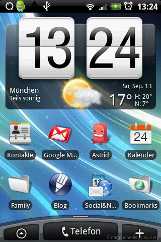 HTC Sense Home Screen on HTC Hero