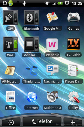 HTC Sense Homescreen on HTC Hero