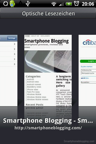 HTC Sense browser app bookmarks thumbnails