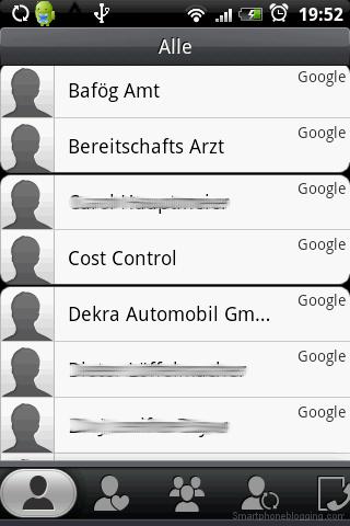 HTC Sense contacts app