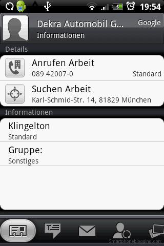 HTC Sense contacts app details
