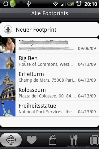 HTC Sense footprint app