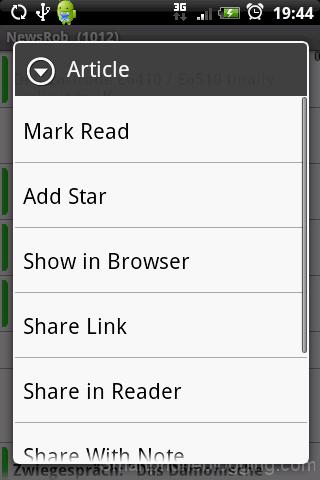 NewsRob articles list popup menu