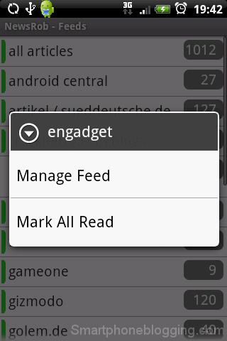 NewsRob feeds list popup menu
