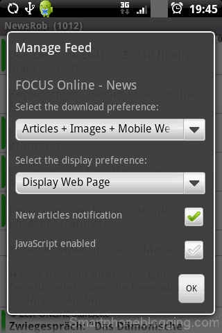 NewsRob manage feed menu