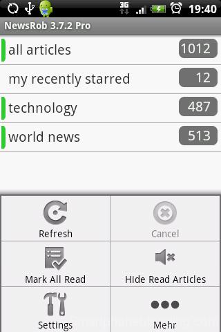NewsRob startscreen menu