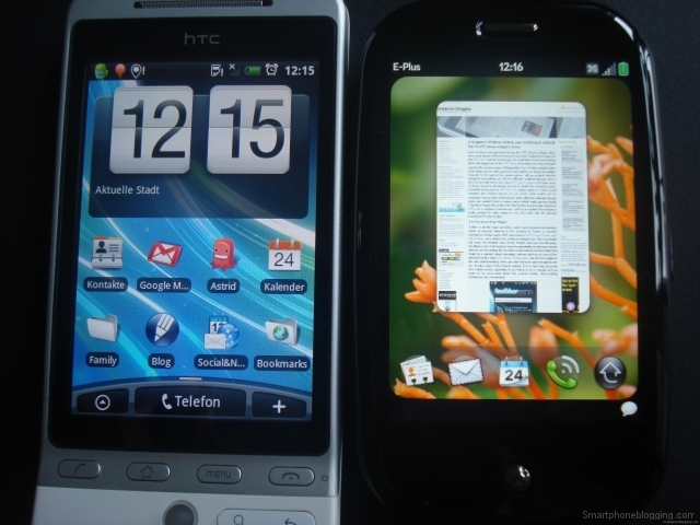 Palm Pre HTC Hero comparison front 6