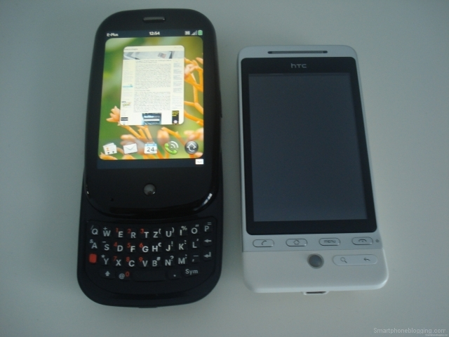 Palm Pre slideout HTC Hero comparison