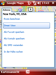 Google maps destination options