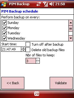 PIMBackup schedule