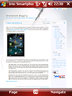 Iris browser showing my blog
