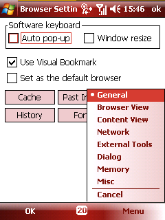 NetFront browser settings