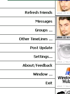 PockeTwit menu