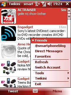 Twikini timeline menu