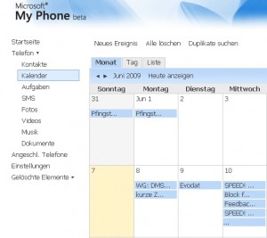 MyPhone calendar