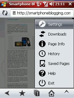 Opera Mobile 97 menu