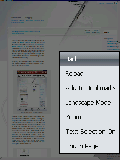 Opera Mobile 9.7 page options