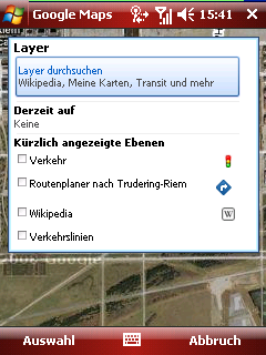 Google Maps layer menu