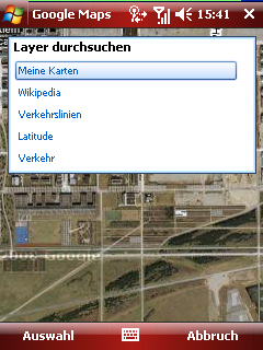Google Maps layer selection